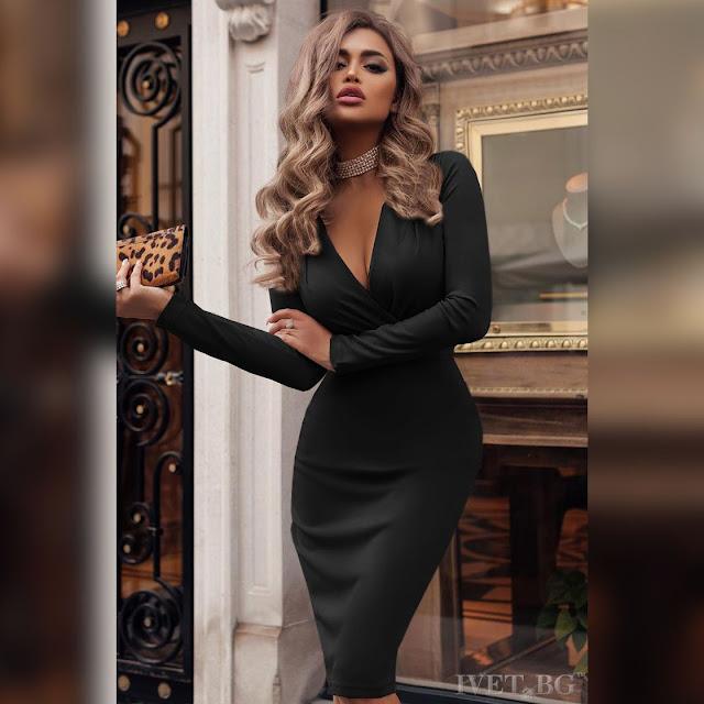 Μεσάτο μαύρο μακρυμάνικο  φόρεμα IVANINA BLACK