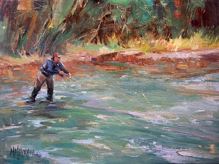 Mary maxam paintings anticipation fly fishing on the for Owyhee river fly fishing