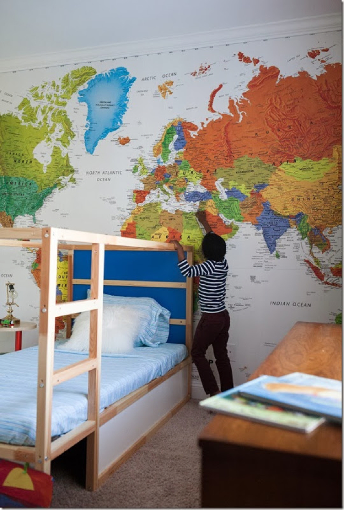 focal wall with map mural/design addict mom