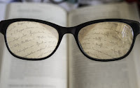 glasses making the writing clear