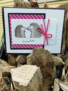 Hedgehog card made with Stampin' Up! Lots of Love and Pop of Pink DSP