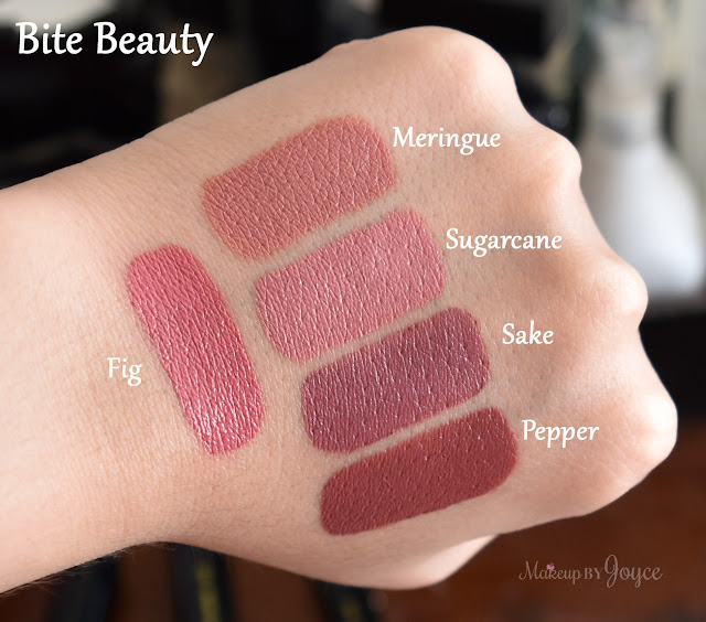 Bite Beauty Amuse Bouche Lipstick Meringue Fig Sake Pepper Sugarcane Swatches