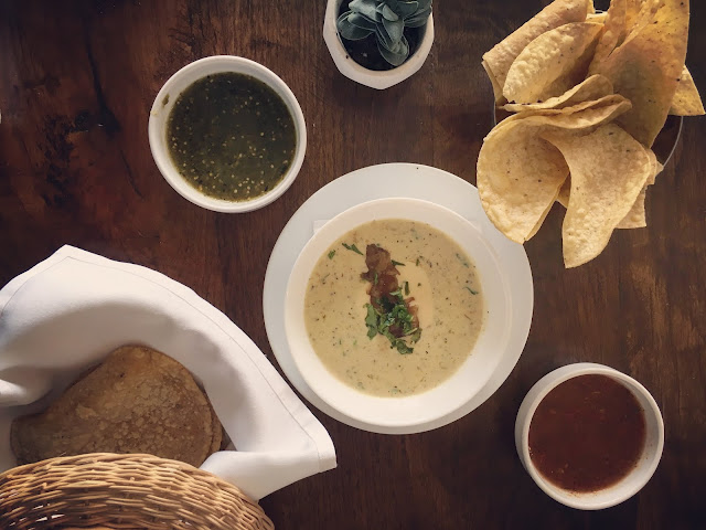 Fresh corn tortillas, chips, queso, salsa and salsa verde