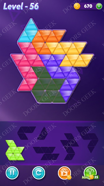Block! Triangle Puzzle Intermediate Level 56 Solution, Cheats, Walkthrough for Android, iPhone, iPad and iPod