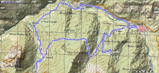 Mapa ruta Tabayón del Mongallu