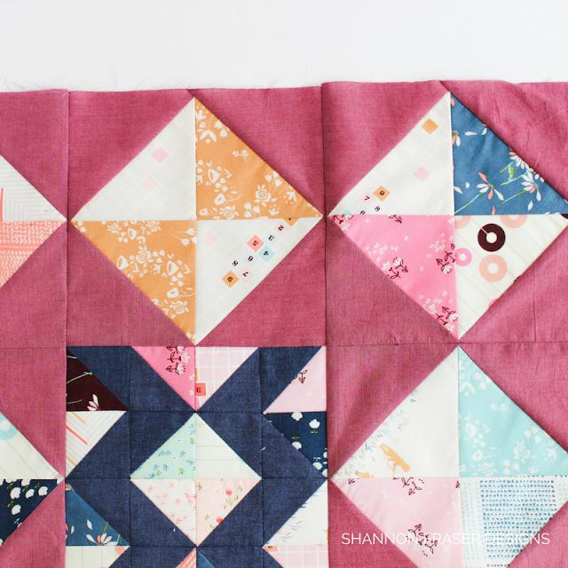Half Square Triangles | Hourglass Quilt Blocks | Shannon Fraser Designs | Playground Fabrics by Amy Sinibaldi for Art Gallery Fabrics | Kaffe Fasset Shot Cotton | Modern Patchwork | Modern Improv Quilting