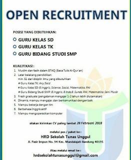 Lowongan Kerja Sekolah Tunas Unggul Bandung 2019