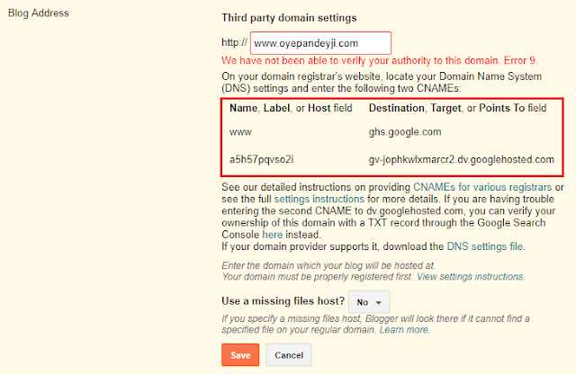 Third party domain settings