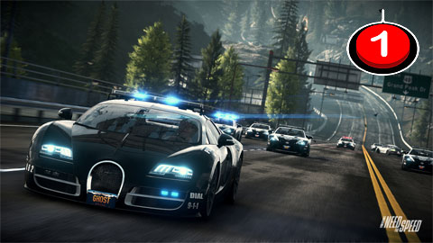 Image of a Bugatti Veyron police car in front of a pack of other cars. One Switch icon in top right corner.
