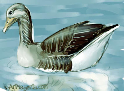 Graylag Goose is a bird painting by ArtMagenta