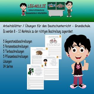 Klassenarbeit Aufsatz 2.Klasse Beschreibungen Arbeitsblatt