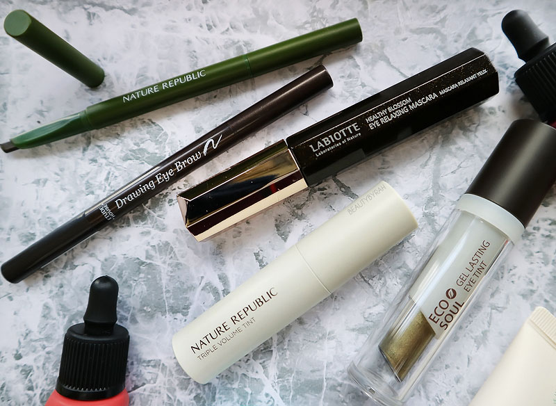 Kbeauty Makeup and Skincare Haul from Seoul - Nature Republic Eye Brow and Triple Volume Tint and Labiotte Mascara
