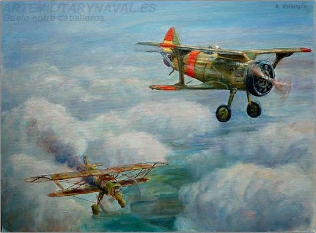 Óleo combate aéreo entre caballeros I-13 chato contra He 51