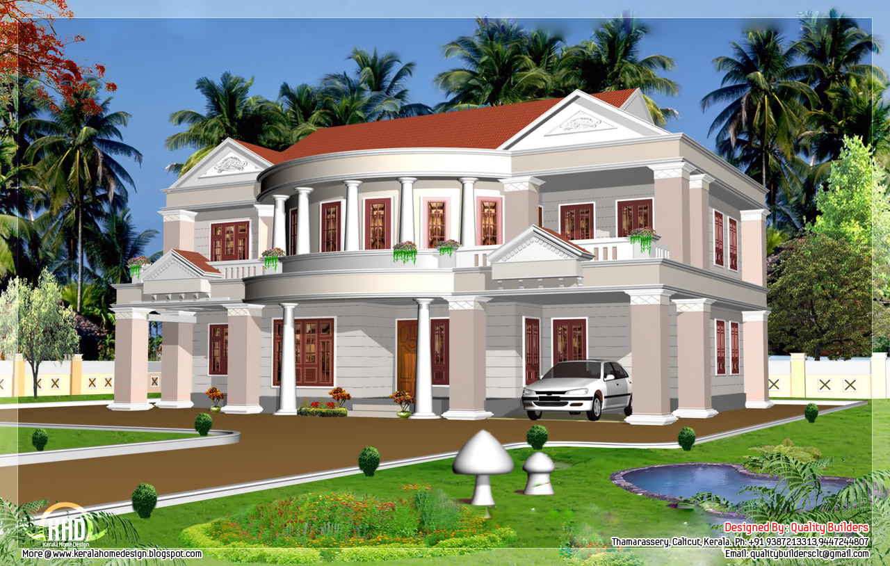 2992 big house elevation kerala home design and for Mansion home plans