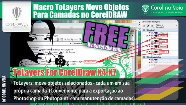 ToLayer Envia Objetos para Camadas no CorelDraw