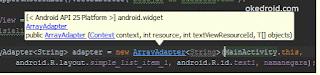 Syntax nilai atau value dari ArrayAdapter