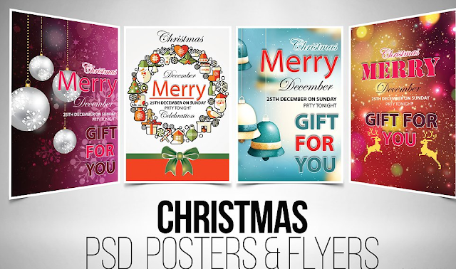 christmas flyer template psd bundle