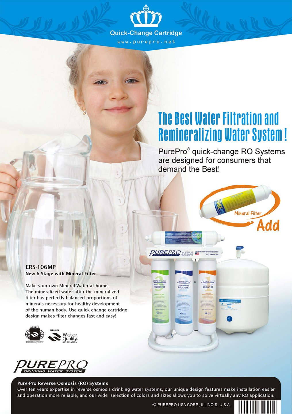 PurePro® USA ERS-106M Quick-Change Reverse Osmosis Water Filter Systems