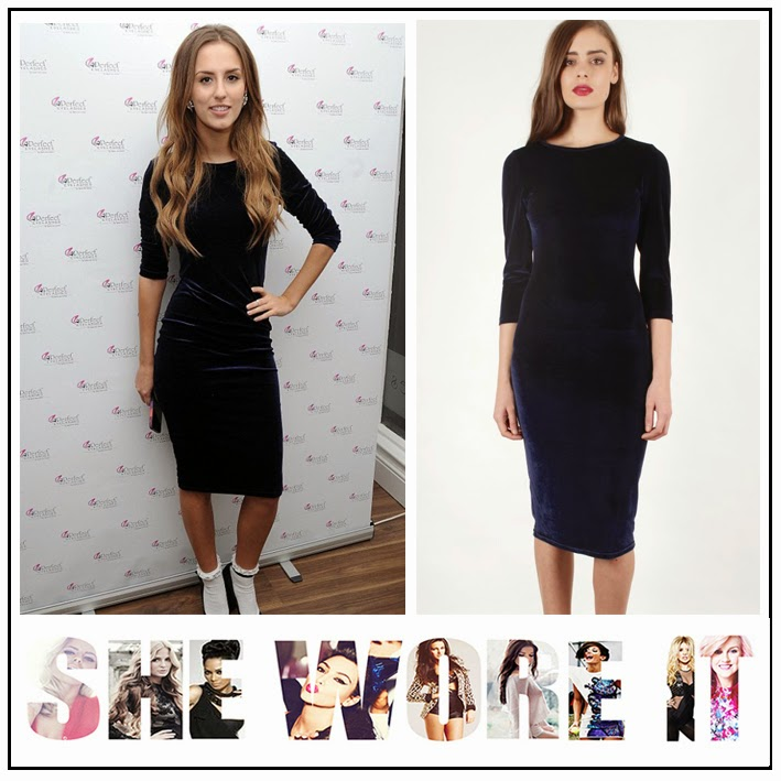 Made in Chelsea, Lucy Watson, Lavish Alice, Navy Blue, Velvet, Fitted, Bodycon, Midi Dress, Round Neck,  Three Quarter Length Sleeves, MIC,