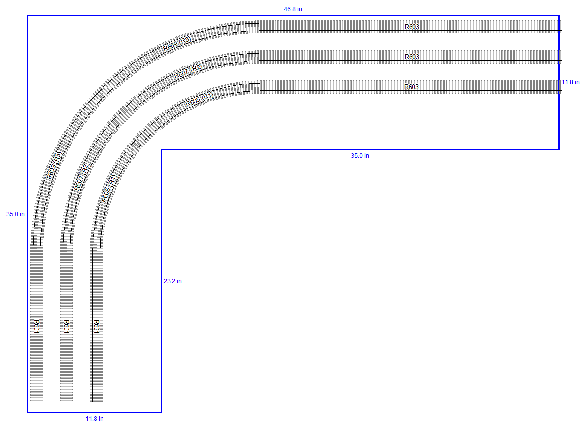 hornby l shelf layout track plan curves [ 1185 x 867 Pixel ]