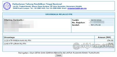 Berjaya Bayar Balik Pinjaman PTPTN Melalui FPX