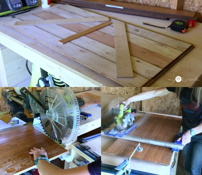 repurposed floor boards into desk top