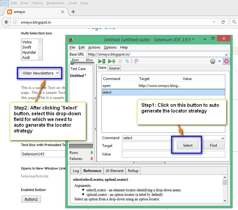 Selenium-By-Arun: 'select' command in Selenium IDE for