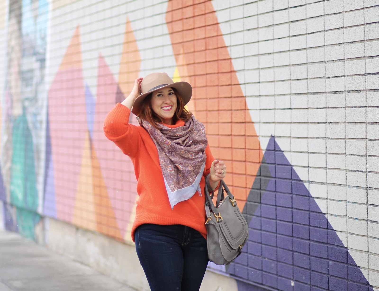 chloe, marcie, orange, sweater, affordable, outfit