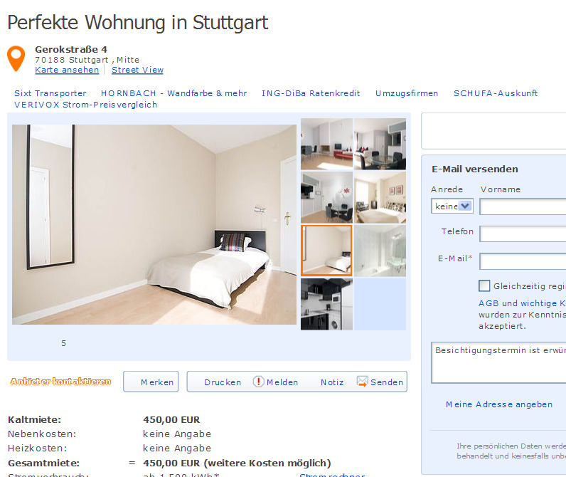 perfekte wohnung in stuttgart. Black Bedroom Furniture Sets. Home Design Ideas