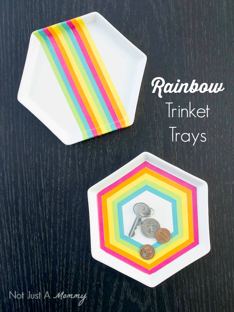 This Rainbow Trinket Tray is a fun and easy craft to do!