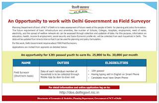Delhi Govt Field Surveyor Jobs Recruitment 2018