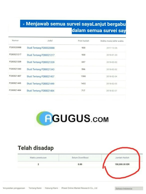 Cara Saya Mendapatkan 150rb dari Survey Online Ipanel