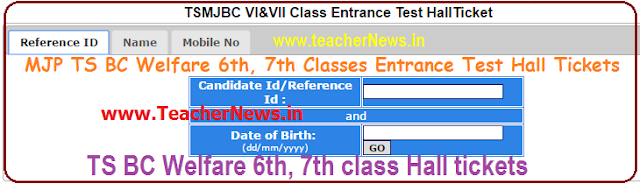 MJP TS BC Welfare 6th, 7th Classes Entrance Test Hall Tickets 2017