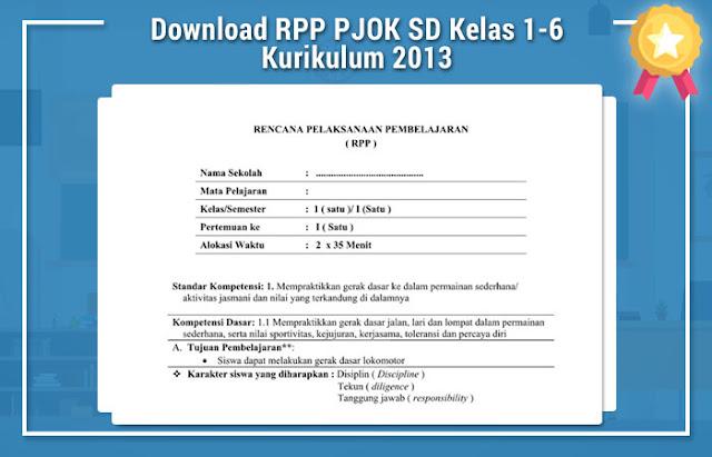 RPP PJOK SD Kelas 1-6 Kurikulum 2013