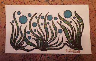 A pen and ink doodle meditation in greens and a blurb about having a moment in the sun.