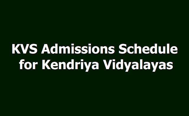 KVS Online admissions Schedule