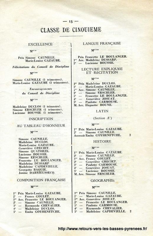 Retours vers les basses pyr n es 12 juillet 1933 coll ge for Dulong bayonne