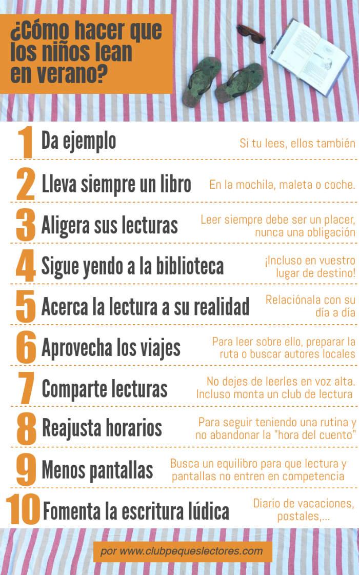 fomentar lectura verano, infografía cómo hacer que los niños lean en vacaciones 10 trucos