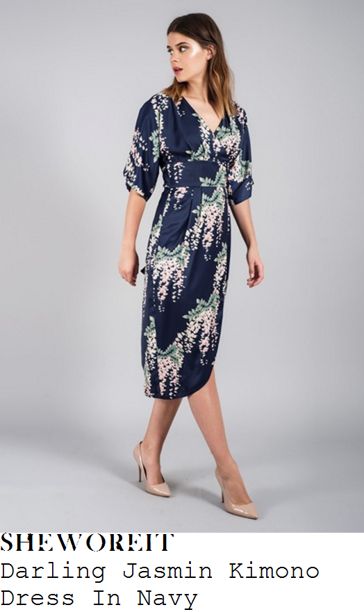 lydia-bright-darling-jasmin-navy-blue-green-pale-pink-and-cream-floral-print-half-sleeve-v-neck-wrap-front-high-waisted-draped-kimono-midi-dress