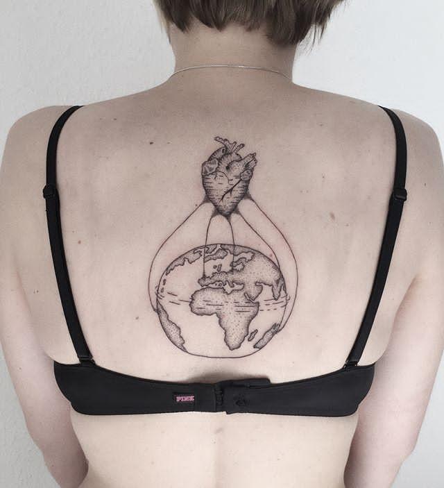 earth tattoo design for women back
