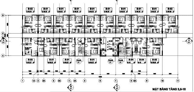 Sơ đồ mặt bằng tầng 3,5-18 tòa T2 chung cư B1.3 Thanh Hà