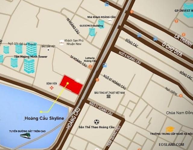 Vị trí Chung cư Hoàng Cầu Skyline