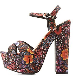 Floral Bamboo Heels from Charlotte Russe $15.99