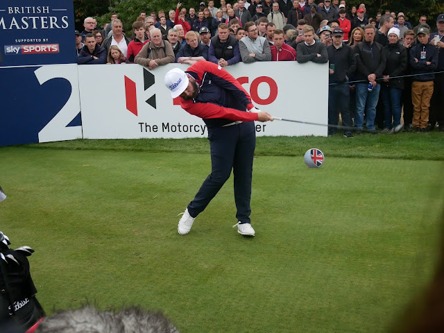Andrew 'Beef' Johnson tees off at the 2nd hole at The Grove - British Masters 2016