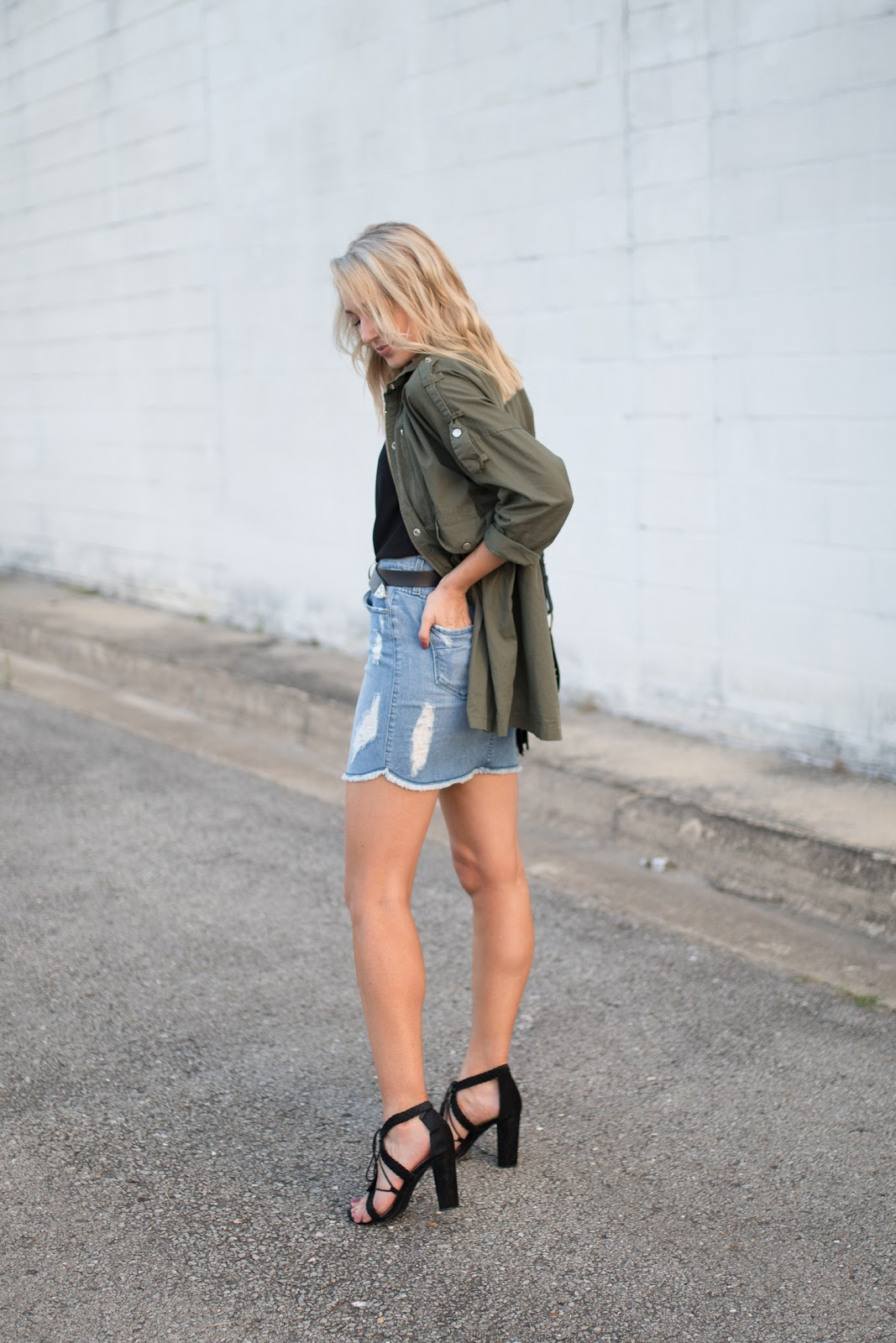 Denim skirt with a utility jacket