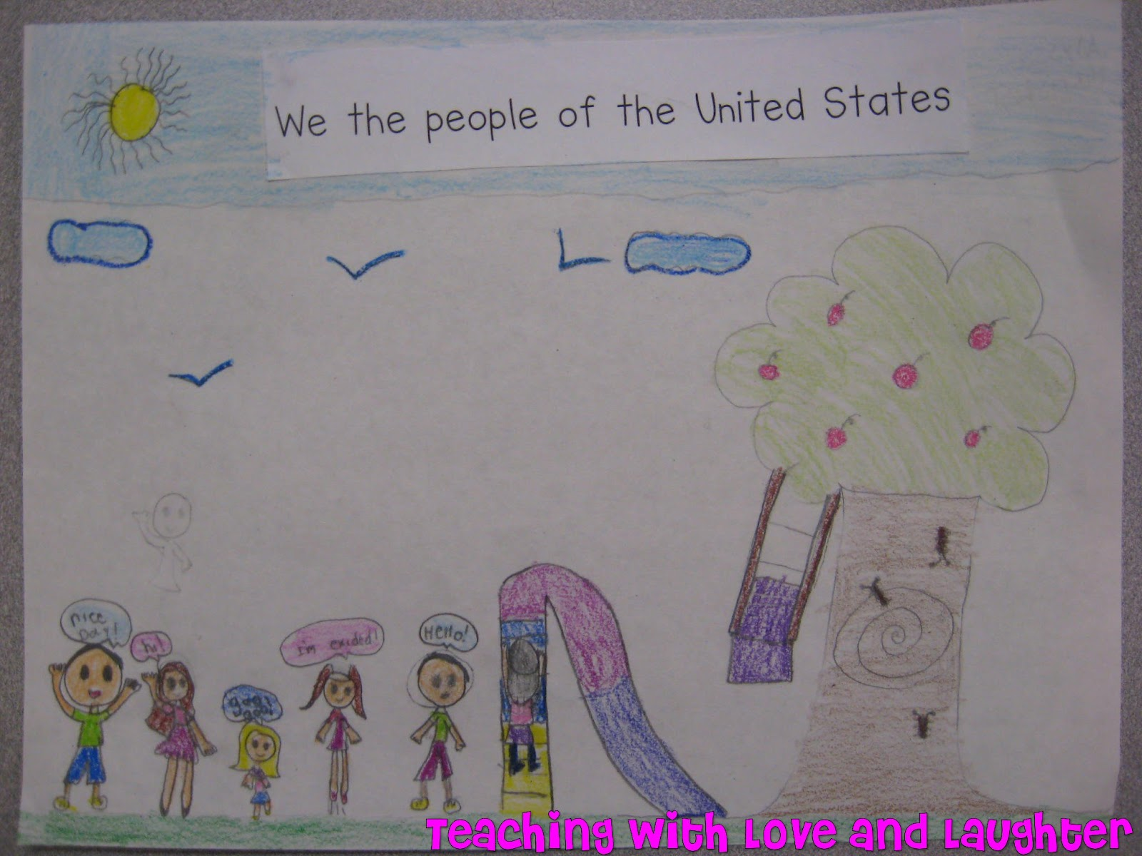 Teaching With Love And Laughter American Flag Cut And