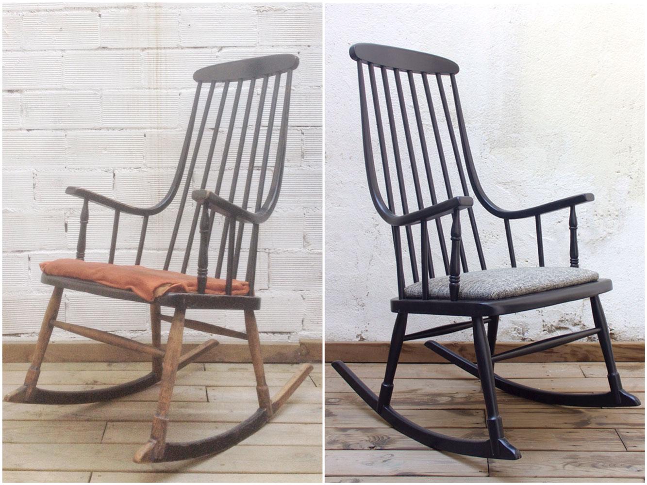 Antes y Después - Una mecedora de color negro