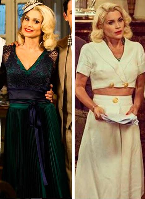 Sandra com vestido verde e ao lado com vestido branco