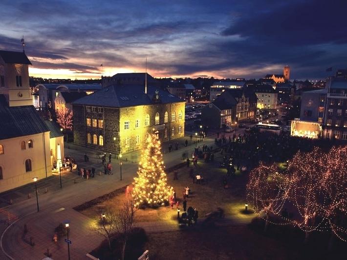 Boże Narodzenie, Swięta, Reykjavik, miasto, stolica, zima, choinka świąteczna,, Oslo tree