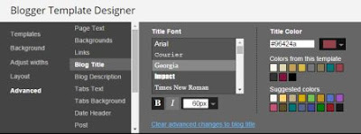 "Screenshot of Blogger Template Designer under ""Advanced"" and ""Blog Title"" showing font and color options."